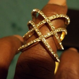 Jewelry - Rhinstone Gold-plated Knuckle Ring